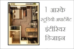 1RK Studio Apartment Interior Design Proposal Hindi