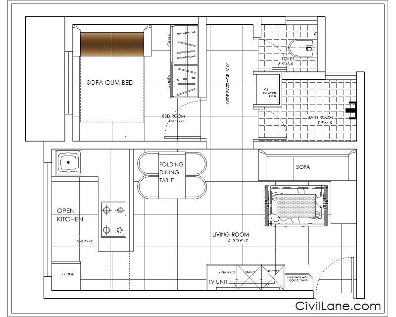 1RK TO 1BHK BUDGET RENOVATION PROPOSED LAYOUT