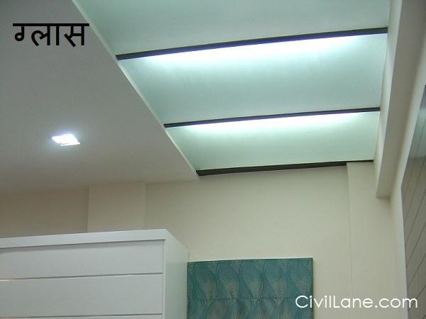 Glass bathroom false ceiling material alternative hindi