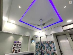 Small Bedroom False Ceiling Design Square Blue LED Strip Light