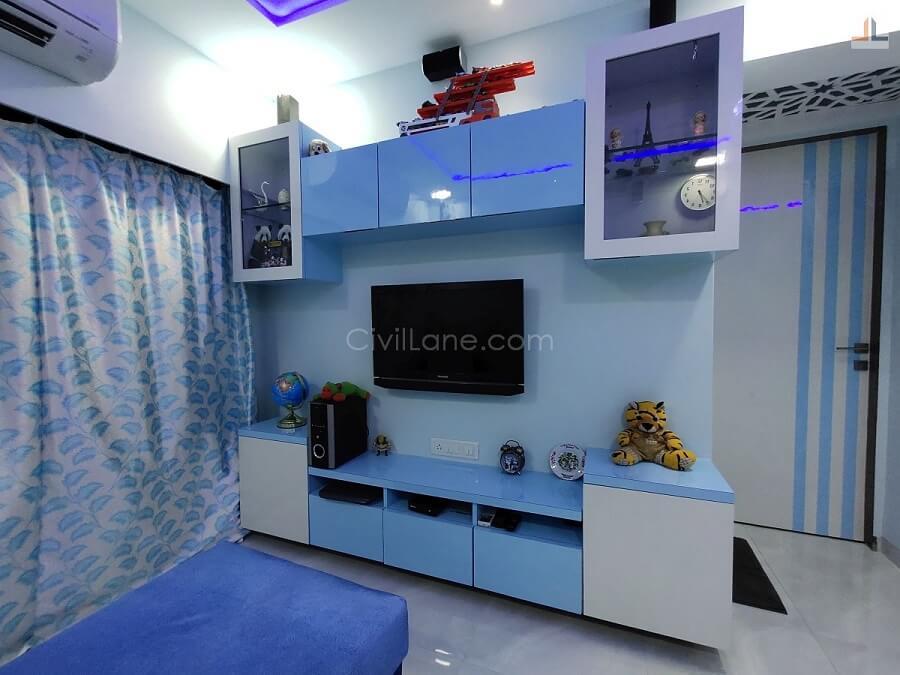 TV Unit Design With Storage Blue White