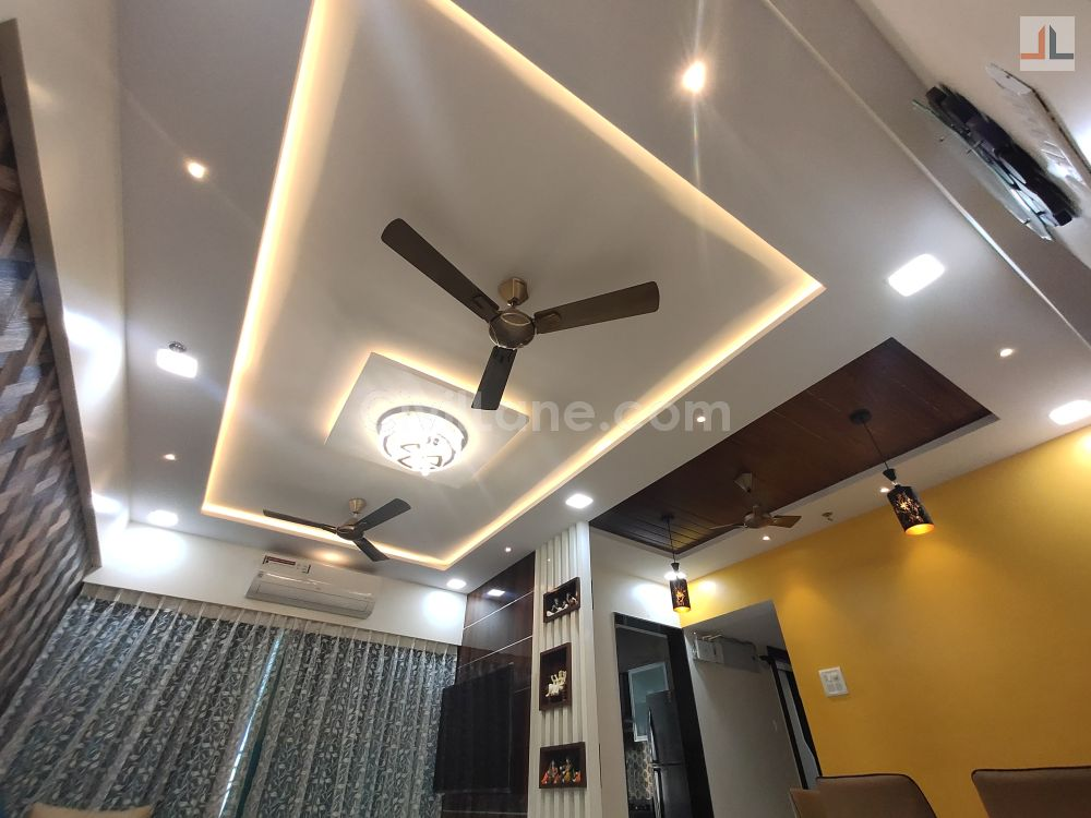 Living Room False Ceiling Design Rectangle Simple with Indirect LED Panel and Spot Lights