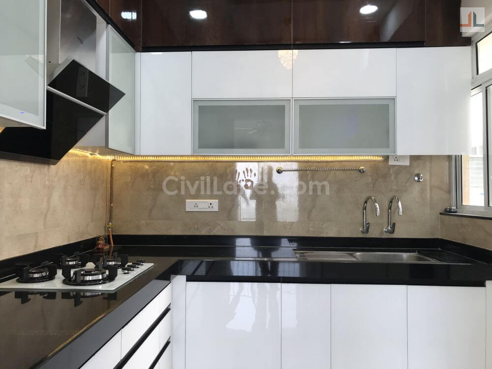 L Shaped Modular Kitchen Design Acrylic Finish Pune Civillane