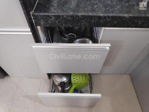 Pebble Grey Laminate Finish Modular Kitchen Design Handewadi Pune (7)