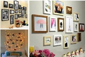 Gallery wall of photos printed selfies