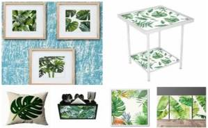 Palm leaf motif wallart furniture