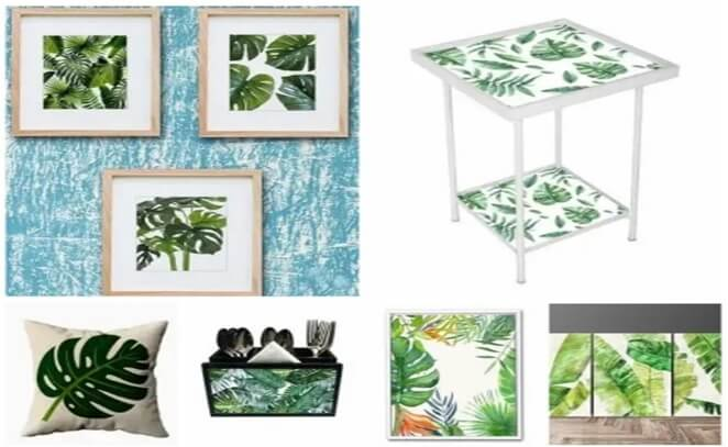 Palm leaf motif wallart furniture
