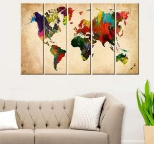 World map artwork painting livingroom