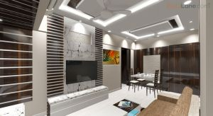 3D Living Room Design With TV Unit Design