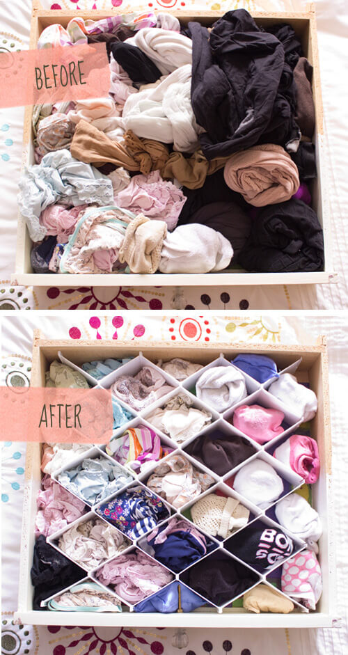 Underwear drawer before after organizing