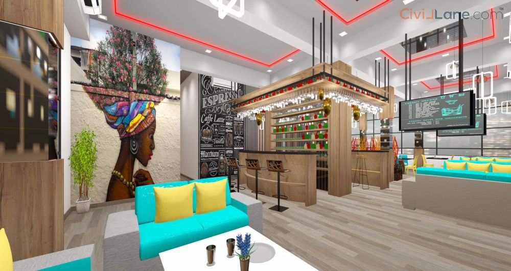Restaurant Bar Interior Design 3D