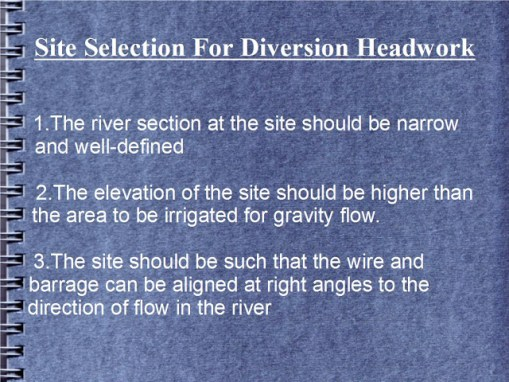 Site Selection For Diversion Headwork