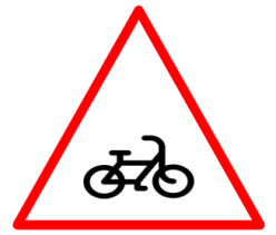 "Cautionary or Warning road  Signs or traffic signs - Cycle Crossing || symbolic image of ""Cycle Crossing"" Sign"