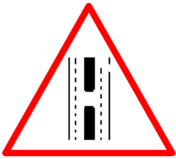 "Cautionary or Warning road  Signs or traffic signs - Gap in Median || symbolic image of ""Gap in Median"" Sign"