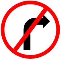 "Symbol image of ""Right Turn Prohibited"" sign"