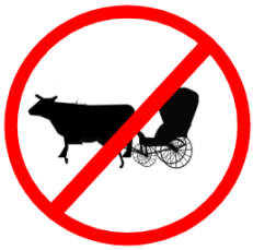 "Mandatory or Regulatory road  Signs or traffic signs - Bullock Cart Prohibited || symbolic image of ""Bullock Cart Prohibited"" Sign"