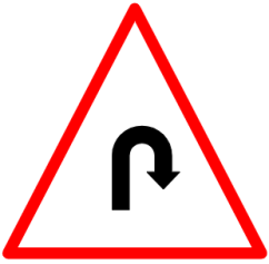 "Symbolic image of ""Hairpin Bend"" sign"
