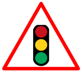 "Cautionary or Warning road  Signs or traffic signs - Traffic Signal Ahead   || symbolic image of ""Traffic Signal Ahead "" Sign"