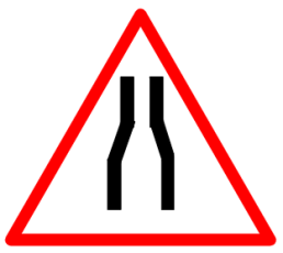 "Cautionary or Warning road  Signs or traffic signs - Narrow Road Ahead || symbolic image of ""Narrow Road Ahead"" Sign"