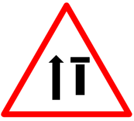 "Cautionary or Warning road  Signs or traffic signs - Lane Closure Ahead || symbolic image of ""Lane Closure Ahead"" Sign"
