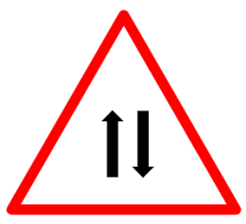 """Cautionary or Warning road  Signs or traffic signs - Two Way Operation Ahead 