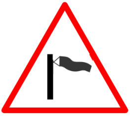 "Cautionary or Warning road  Signs or traffic signs - Sudden Side Winds Ahead || symbolic image of ""Sudden Side Winds Ahead"" Sign"