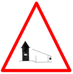 "Cautionary or Warning road  Signs or traffic signs - Barrier Ahead || symbolic image of ""Barrier Ahead"" Sign"