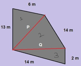 Irregular pentagonal shaped lands - area calculation