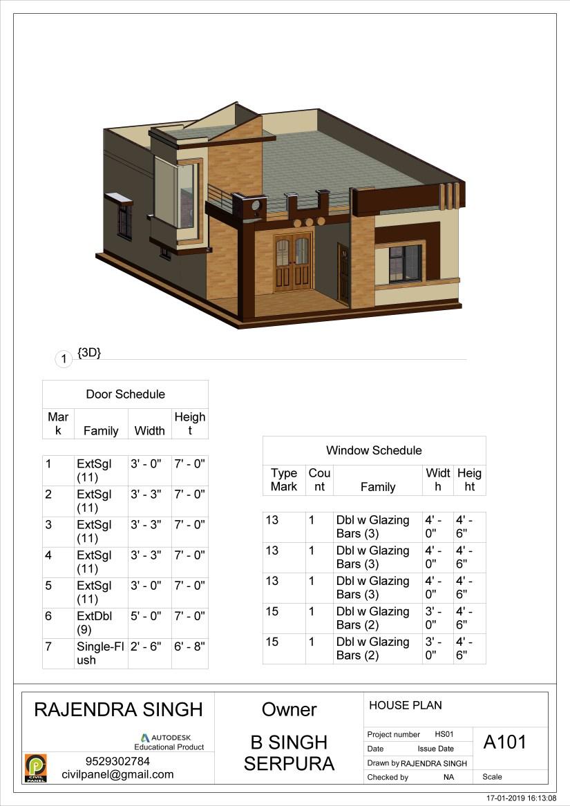 28x40 House Plans 3D Elevation Design Door Dimensions