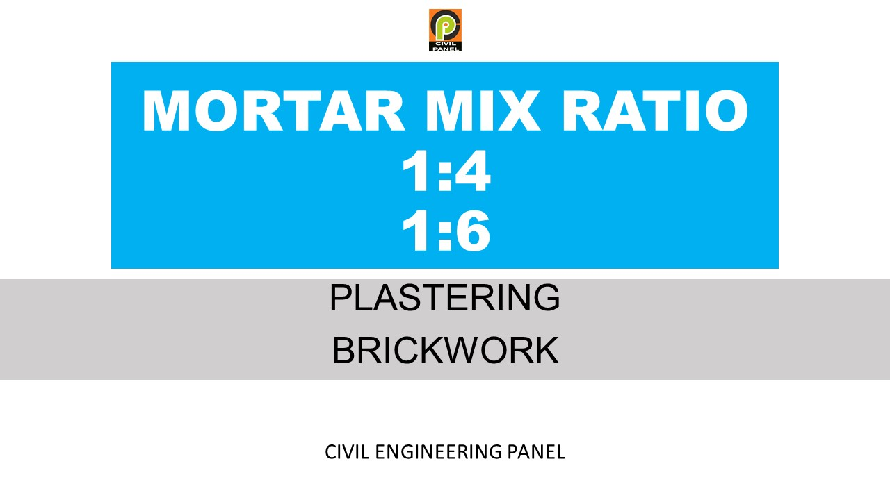 MORTAR MIX RATIO FOR WALL PLASTERING & BRICKWORK