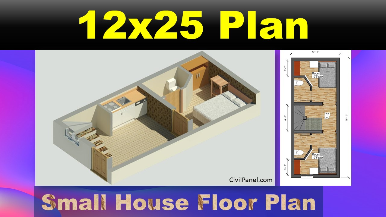 12x25 house Plan, small house plan Indian style