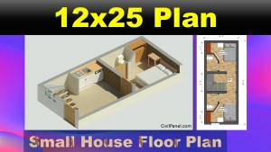 12 x 25 House Plans – Floor Plan Design & 3D