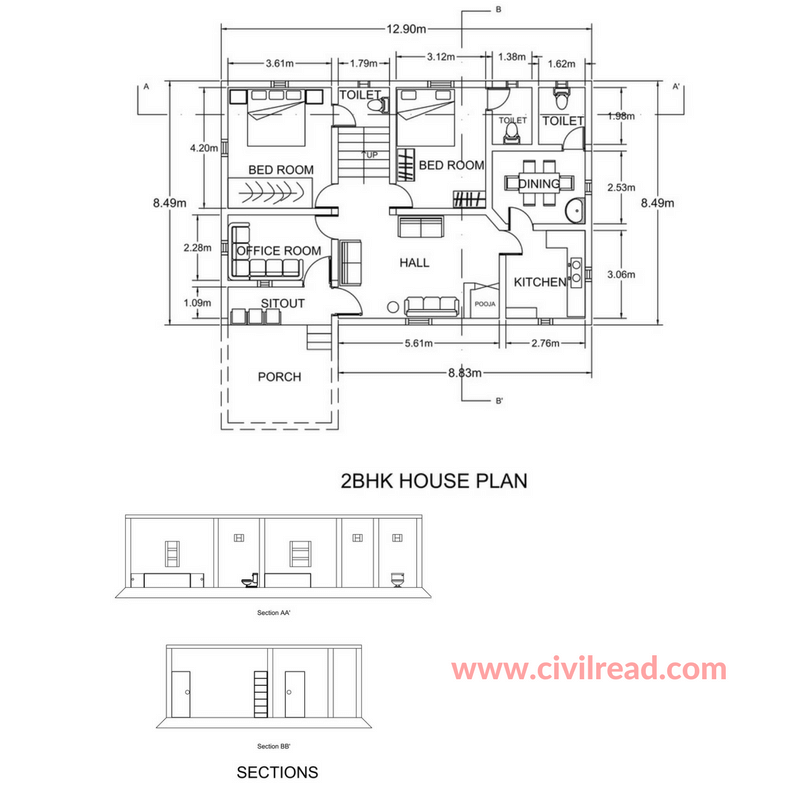 2 BHK, 3 BHK AUTOCAD drawing Samples [ Bedroom, Hall, Kitchen]