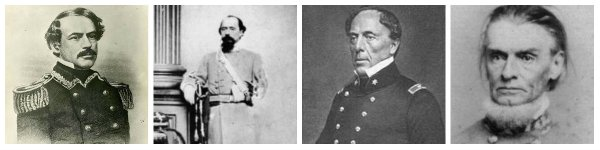 L to R: Robert E. Lee, William W. Loring, John B. Floyd, Henry A. Wise | Image Credit: Wikipedia.org