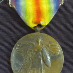 US WWI Victory medal with rainbow colored ribbon
