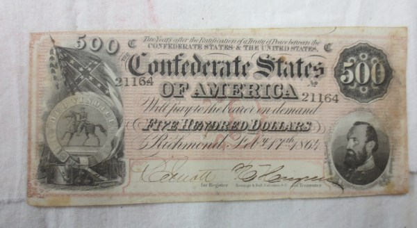 Front view of the old 500 dollars currency