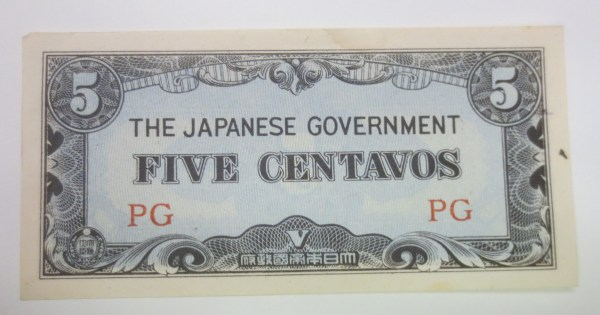 Japanese five centavos note
