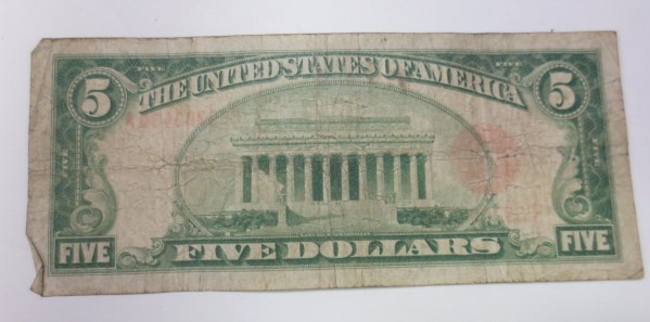 Back of the five dollar bill US