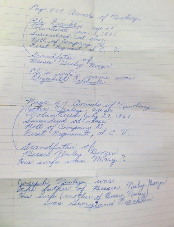 old written note