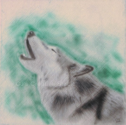 Wolf on paper towel