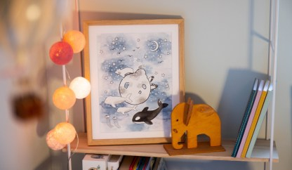 watercolor illustration children art arctis polarbear killerwhale belugawhale seagull starts moon