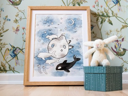 Watercolor illustration art children polar arctis killerwhale penguins beluga whale polar bear stars moon night
