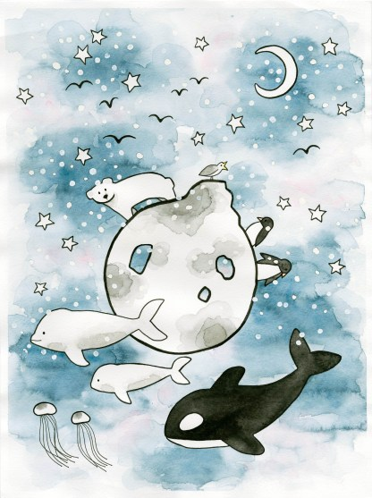Watercolor illustration children art arctis polar killer whale penguins beluga whale moon stars snow polar bear