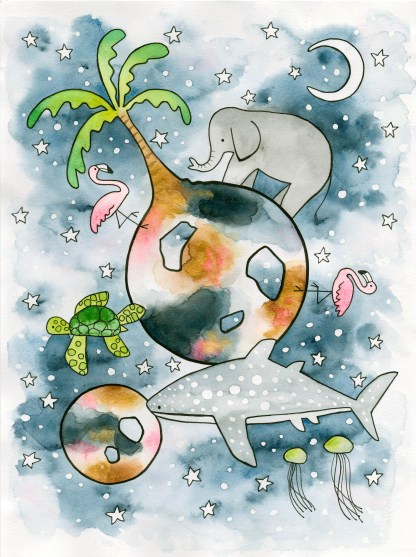 watercolor art children illustration night time planets earth whale shark sea turtle jelly fish elephant flamingos palm tree moon stars night