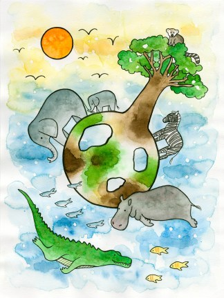 Watercolor illustration print art children savanna africa crocodile hippo zebra elephants baobab sun lemur