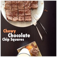 Almond Milk + Chewy Chocolate Chip Squares { Made with Almond Pulp!}