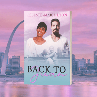 3D mockup of Back to Juan paperback with a light purple background of the St. Louis city skyline