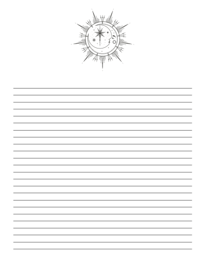 image of interior notes page with image of the moon