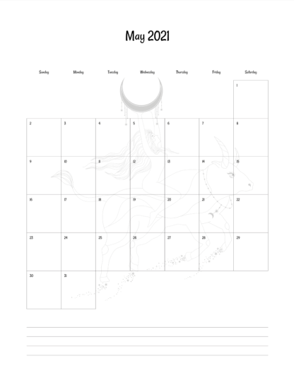 image of interior monthly calendar page in planner