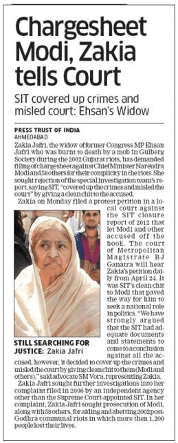 Chargesheet modi, Zakia tells Court